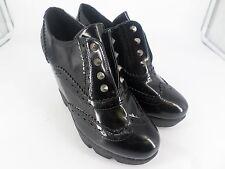 Ladies High Heeled Platfrom Wedge Pull On Black Brogues UK 3 EU 36 LN17 63