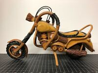 """Vintage Wooden Harley Davidson Motorcycle Model Bamboo And Wood Hand Crafted 15"""""""