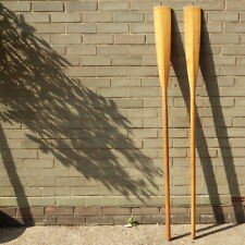 More details for vintage wooden pair of rowing boat oars