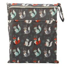 1 Wet Dry Bag Baby Cloth Diaper Nappy Bag Reusable Two Zipper Christmas Fox Gift