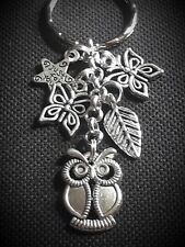 KEYRING With Silver Charms OWL Butterfly Pretty Christmas Birthday Gift