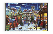 Victorian Winter Street Scene Canvas Painting Print Xmas Wall Decor Art Ornament