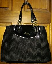 Coach Ashley Gathered Satin Carryall Tote Satchel Shoulder Bag F20050 Black