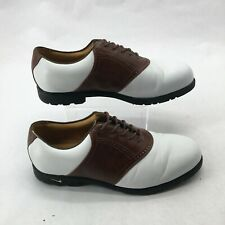Nike Air Comfort Waverly Last Saddle Golf Shoes Leather White Brown Mens 9.5 W