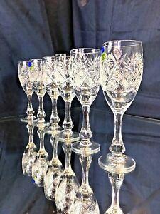Crystal Glass  Set of 6 Vodka Liqueur Sherry 2oz NEMAN Vintage Russian  Cut