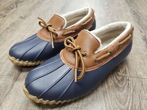 JBU by JAMBU Womens Gwen Duck Shoes Slip-on Weather Ready Navy Tan Size 6.5 Rain