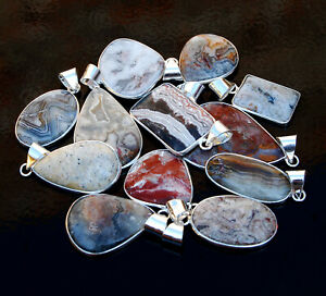 REVISE Pcs CRAZY LACE AGATE Gemstone 925 Sterling Solid Silver Necklace Pendant