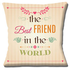 "'The Best Friend In The World' Cushion Cover 16""x16"" 40cm Cream Multicolour"