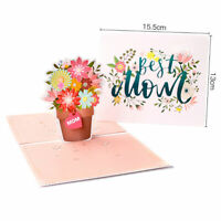 3D Pop Up Greeting Card Handmade Valentine Birthday Mother's Day - Best Mom