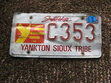 2013 13 SOUTH DAKOTA SD LICENSE PLATE YANKTON SIOUX TRIBE INDIAN TRIBAL #C353