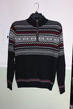 SKYR Men's Half Zip Sweater 100% Merino Wool Black/White/Red Size Medium NWT