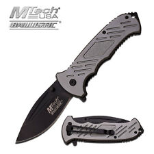 MTECH GREEN TACTICAL Spring Assisted Open Pocket Knife Folding Bowie Blade GREY