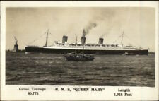 Steamship RMS Queen Mary New York City Statue of Liberty Used RPPC 1930s