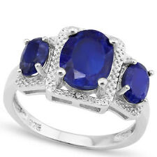 LOVELY 3.81 CTW GENUINE DIAMOND & ENHANCED SAPPHIRE IN 925 STERLING SILVER RING