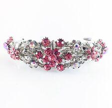 USA BARRETTE Rhinestone Crystal Hairpin Clip Metal Vintage Elegant Pink 06