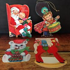 4 Vintage Christmas Cards Die Cut Hallmark Norcross Santa Drummer Boy (Used)