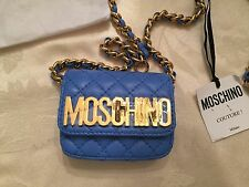$595 Moschino Cout Jeremy Scott Quilted LEATHER Mini Chain Marine Blue Waist Bag