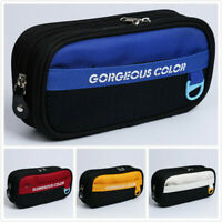 Canvas Pencil Case Large Capacity Storage Pen Bag Kids Stationery Supplies Blue