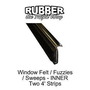 1950 - 1964 Chevy Window Felt / Fuzzies - Inner - w Stainless Lip - pair
