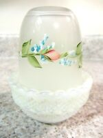 Mosser White Carnival/Crystal Handpainted Vining Floral Fairy Lamp, new