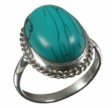 925 Solid Sterling Silver Ring Natural Turquoise Gemstone US Size 3 to 14 JR02