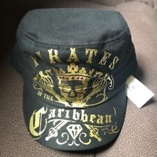 Disney Parks Pirates Of The Caribbean Cadet Hat Adult Black & Gold NWT