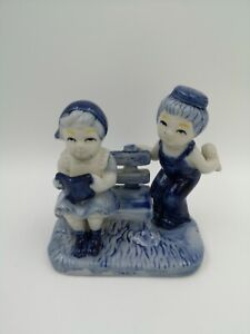 Vintage Delft Blue And White Porcelain Figurine Girl And Boy, Handpainted
