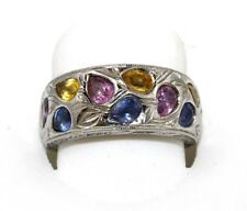Estate Multi Color Sapphire Diamond Leaf Flower Ring Band 18k White Gold 2.71Ct