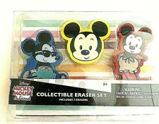 New Disney Mickey Mouse Eraser Set of 3 Collectible Gift