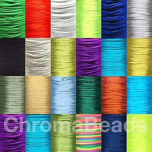 Rattail Satin Nylon Cord 2mm. Choose colour & length, kumihimo shamballa macrame