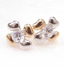 Clear CZ Cubic Two Colour 18K Yellow Gold Plated Flower Xmas Party Stud Earrings