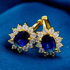 New Charming Oval Gold Plated Cubic Zircon Hoop Earring For Women