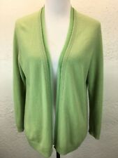 S37 Talbots Petite L 100% Cashmere Light Green Open Front Cardigan Sweater