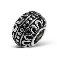 925 Sterling Silver Bali Indian Henna Decorative Bracelet Charm Bead Gift B604