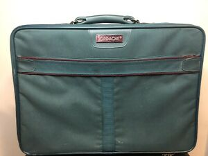 """Vintage Jordace Green Suitcase 20"""" Long Carry On"""