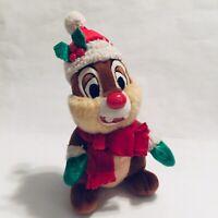 "Disney Parks Chip and DALE Chipmunk 8"" Plush Christmas Stuffed Animal Xmas"