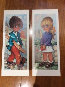 """2x Vintage big eyed French Girl And Boy prints Signed """"Michel T."""" Made In France"""