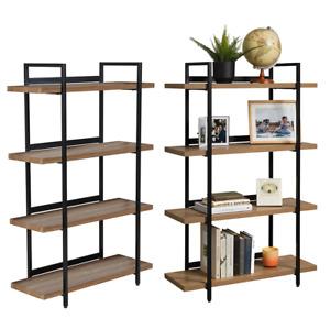 2 x 4 Tier Contemporary Industrial Bookshelf/Shelving Unit Oak finish 1370mmH