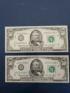 1974 2 Consecutive Fifty Dollar Federal Reserve Notes $50.00 VGC Uncirculated