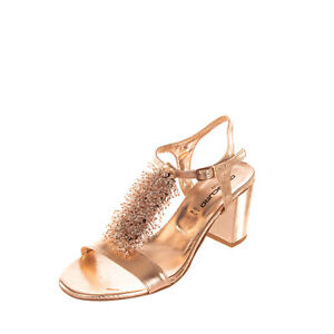 RRP €145 OROSCURO Leather T Bar Sandals Size 40 UK 7 US 10 Beaded Metallic