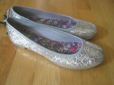Girl SILVER SHINY GLITTER PARTY FORMAL HOLIDAY Flats shoes NWT 5 youth