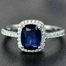 Moissanite Halo Ring Engagement Wedding Jewelry 3 Ct Cushion Cut Blue Sapphire