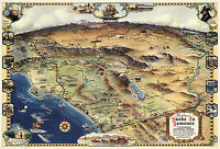 Pictorial California Map Historic Road to Romance Vintage History Wall Poster