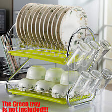 2 Layer Steel Kitchen Dish Cup Drying Rack Drainer Tray Cutlery Holder Organiser