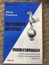 TOTTENHAM v Middlesbrough PROGRAMME 28th September 1974 No11 Vol67