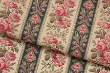 Fabric Antique French floral & stripe pattern cotton material circa 1890 textile