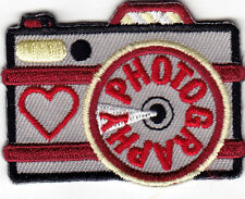 """PHOTOGRAPHY"" -  CAMERA - PROFESSION - HOBBY - Iron On Embroidered Patch"