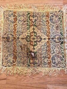 """Vintage Jacquard Textile Square Ethnic Fabric Fringed 23"""""""