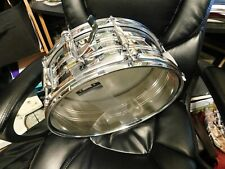 """Rogers Silver 14"""" x 6"""" Snare Drum w/ Case and Key"""