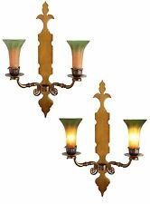 2 Pcs Very Large Art Nouveau Brass Wall Light Blaker Lilies Wall Lamp